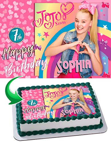 JoJo Siwa Edible Image Cake Topper Personalized Icing Sugar Paper A4 Sheet Edible Frosting Photo Cake 1/4 ~ Best Quality Edible Image for cake
