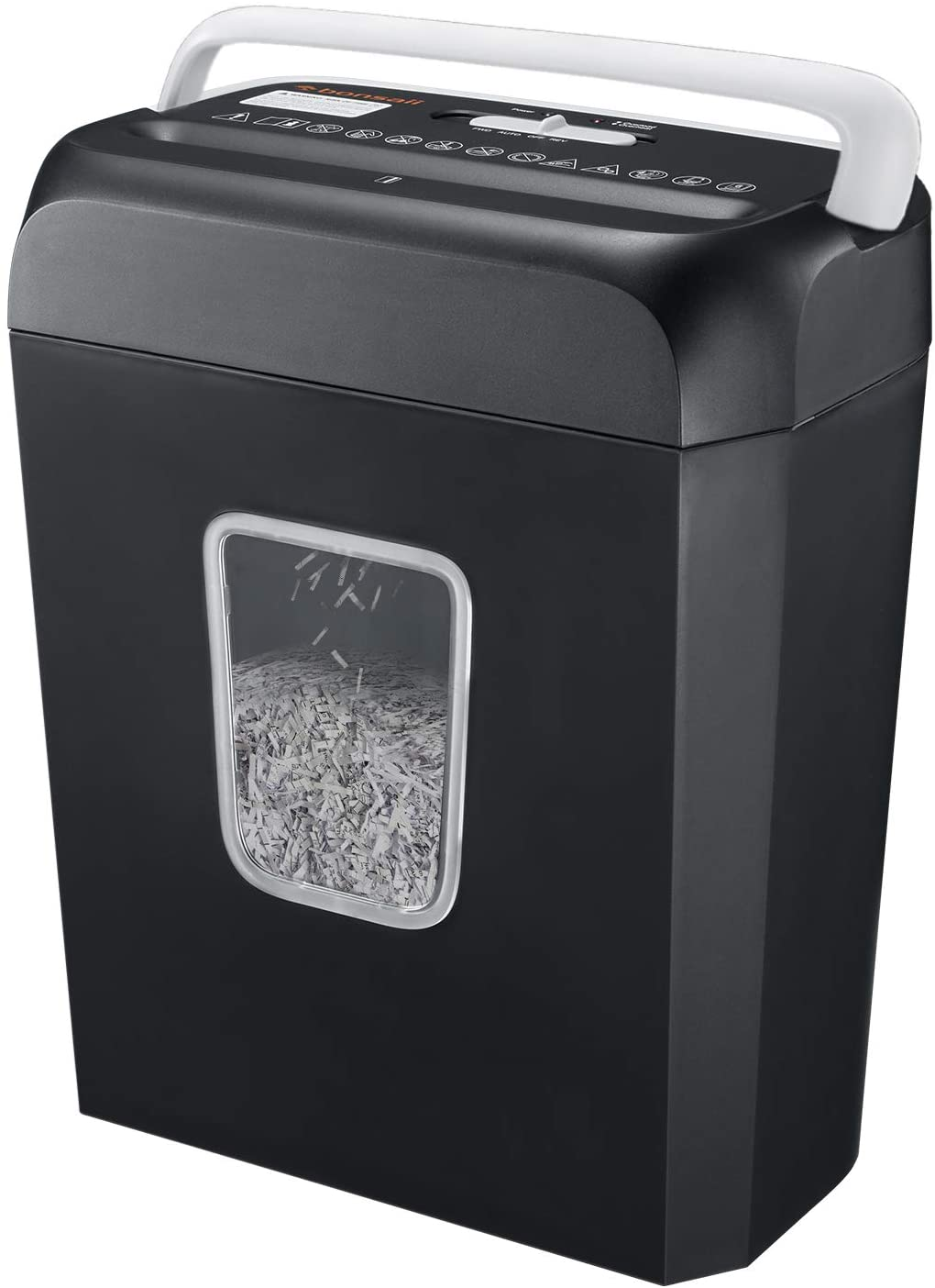 Shredder for Home, Bonsaii 6 Sheet Cross Cut Paper Shredder for Small Home Office Use, Portable Handle Design with 3.4 Gallons Wastebasket (C237-B)