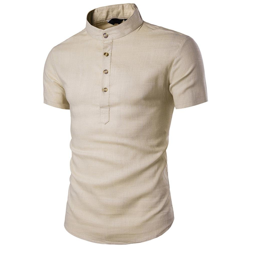 NREALY Men Stand Neck Short Sleeve Daily Look Linen Shirts Tops Blouse Vest Tank