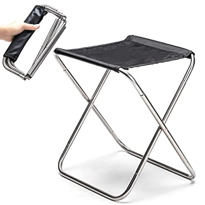 "Camping Stool Fold Mini Camp Stool, Lightweight Camping Stool, Portable Folding Camp Chair, Foldable Outdoor Chairs for Travel, Camping (Large:12.9""x11""x9.8"";Medium:11""x8.8""x8.2"" for Kids) (Black-S) : Sports & Outdoors"