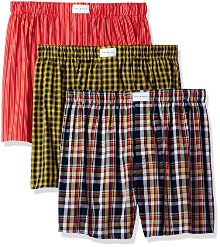Tommy Hilfiger Men's Underwear 3 Pack Cotton Classics Woven Boxers, Orange/Blue Plaid/Orange Stripe/Yellow Plaid, Medium (Classic Boxer Mens Plaid)