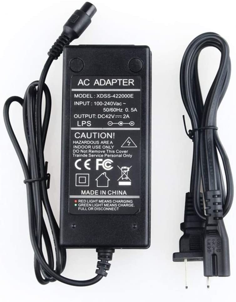 Galaxy Bang 42V 2A Lithium Battery Charger Adapter for Electric Scooter Razor Scooter QCF3601P1A100 3-Prong Inline Replace Part# W15155059014