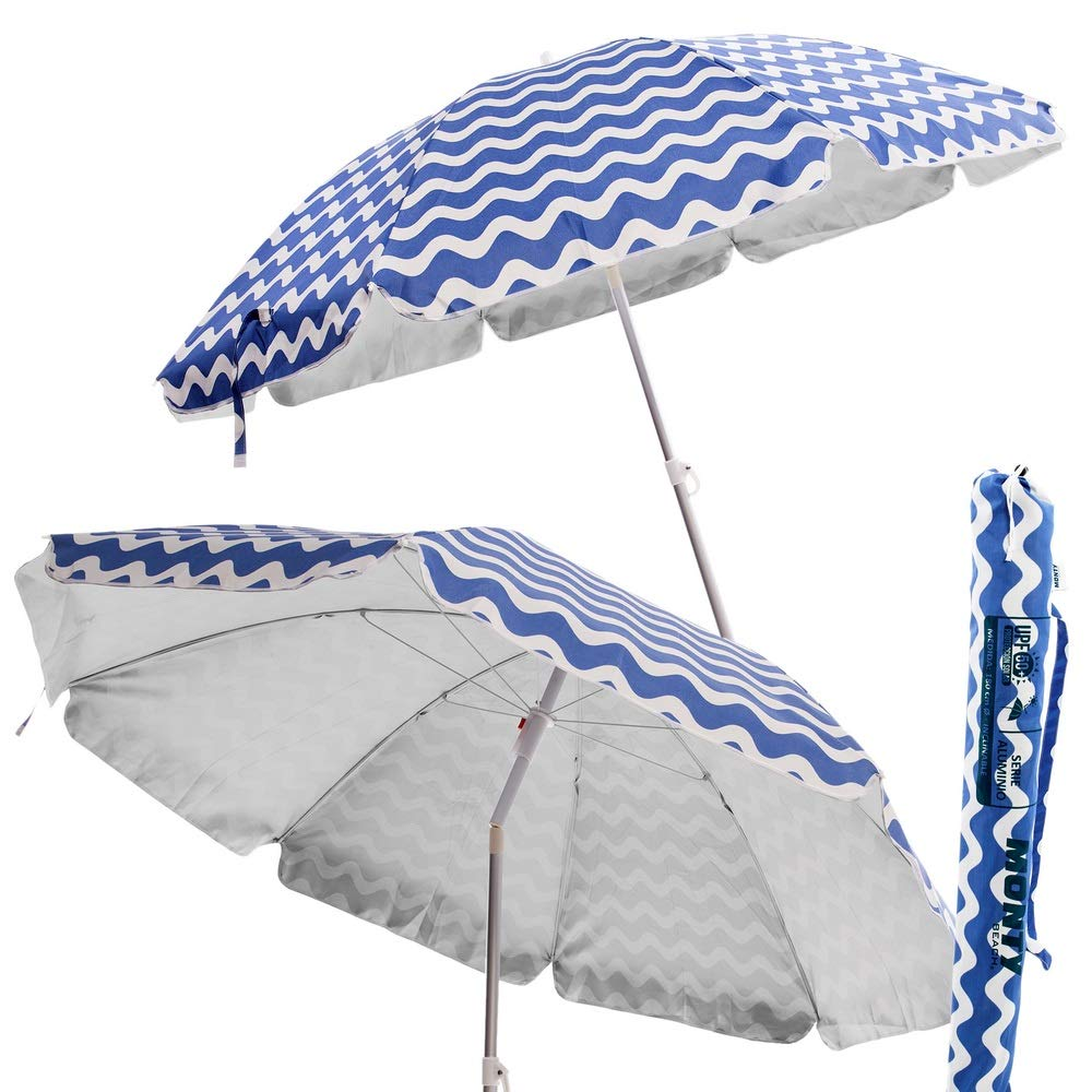 Sombrilla Plegable de Playa o Camping Azul de poliéster de ...