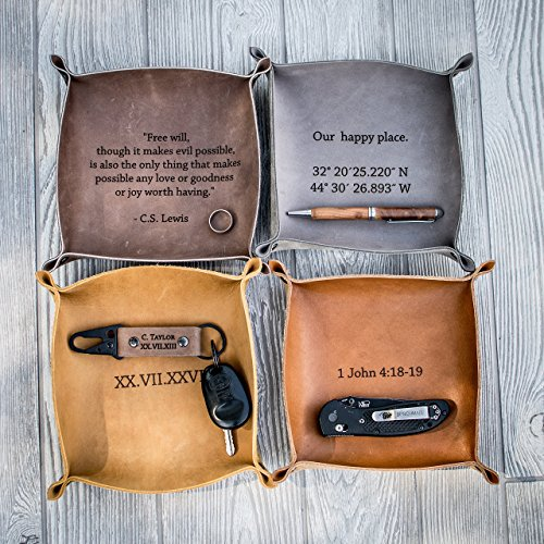Personalized Mens Valet - Personalized Leather Valet Tray, Personalized Leather catchall, personalized anniversary gift, Customized mens gift, Customized leather gift