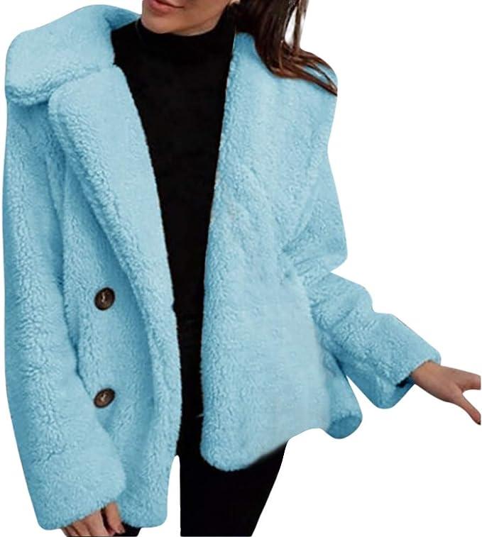 Damen Warme Fleecejacke Teddyjacke Kapuze Outwear Wintermantel Jacke Mantel 48