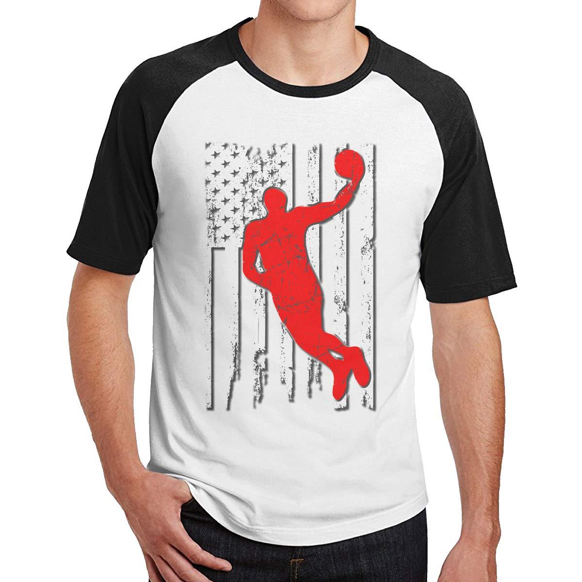 American Flag Basketball Player Mens Short Sleeve Baseball Shirt Cute Raglan Sleeve Tee