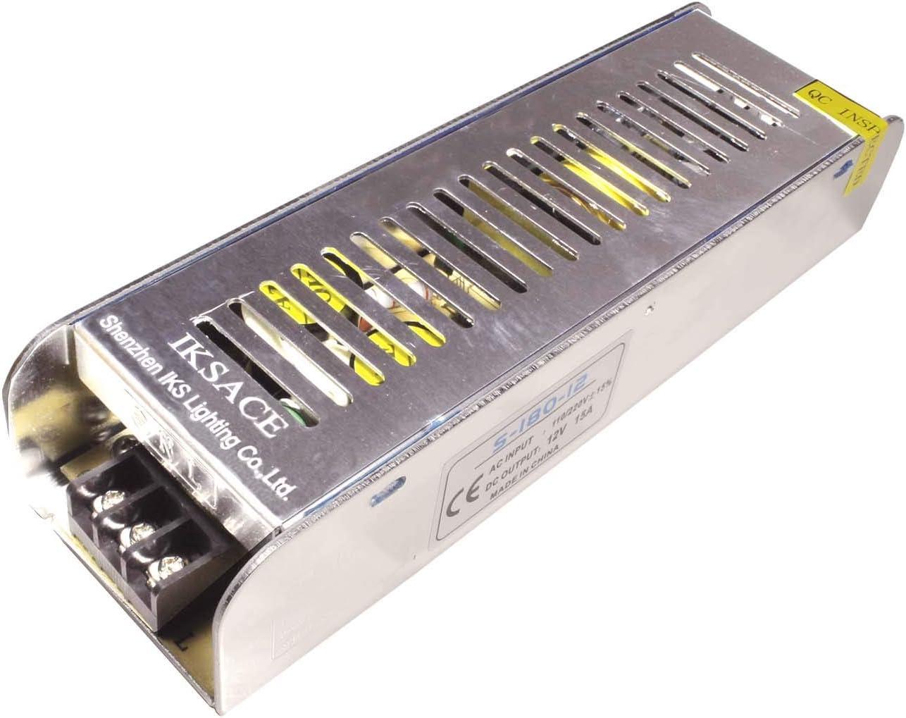 IKSACE DC12V LED transformador controlador de fuente de alimentaci/ón adaptador para tira de luces