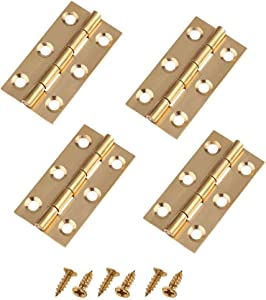 Liyafy 2 Inch Butt Hinges for Cupboard Cabinet Home Furniture Hardware Door Folding Butt Hinge Copper Tone 4 Pcs