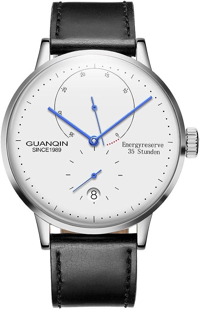 Guanqin - Reloj calendario de muñeca para hombre, analógico, automático, sin cuerda, con correa de acero inoxidable o de cuero