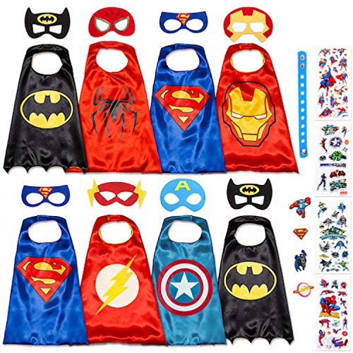 Dropplex 8 Superhero Capes for Kids - Super Hero Toys & Costumes Birthday Party Supplies (Boys Pack) -