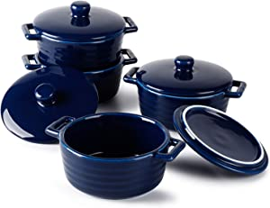 Sweese 510.403 Porcelain Ramekins, 7 Ounce Round Mini Casserole Dish with Lid, Set of 4 - Navy