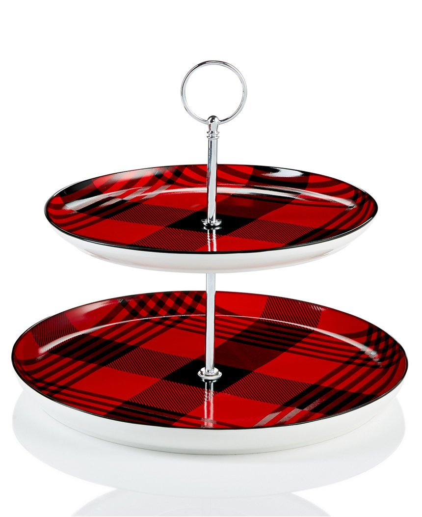 Martha Stewart Collection 2-Tiered Server Red and Black Plaid