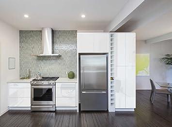 INDIGOS UG - Aufkleber für Küchenschränke 63x500cm GLANZ - weiß - Folie aus  hochwertigem PVC Tapeten Küche Klebefolie Möbel wasserfest für ...
