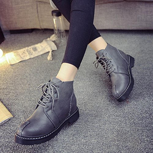 BUIMIN Las Mujeres Cuñas Plataforma Botas Zapatos de Tacón Altos, Casuales, Cómodo, Talla 35-40, gris