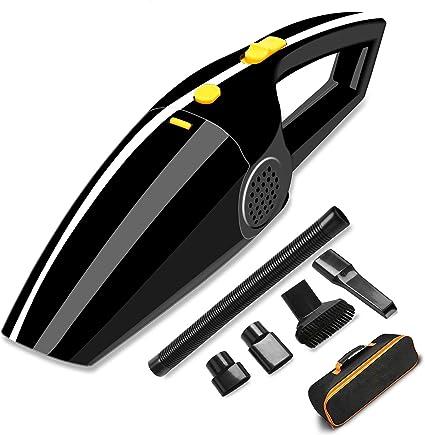 AUELEK Aspirador de coche - Aspirador de mano DC 12V 120W Portable Wet/Dry 4000Pa Potente Mini Aspirador de coche para coche con cable de alimentación de 5 m, bolsa de transporte (negro):