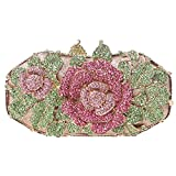 Fawziya Metal Rose Flower Leaf Magnet Clasp Quality Baguette Evening Clutch-Green