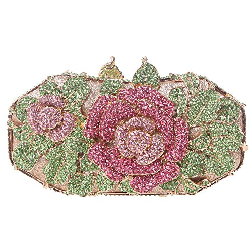 lower Leaf Magnet Clasp Quality Baguette Evening Clutch-Green ()