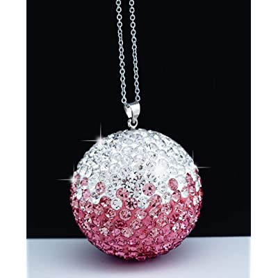 Bling Crystal Ball Car Rear View Mirror Charm,Crystal Sun Catcher Ornament,Car Charm Decoration, Bling Car Accessories,Rhinestone Hanging Ornament for Car & Home Decor (Crystall Ball - Pink): Automotive [5Bkhe1009161]