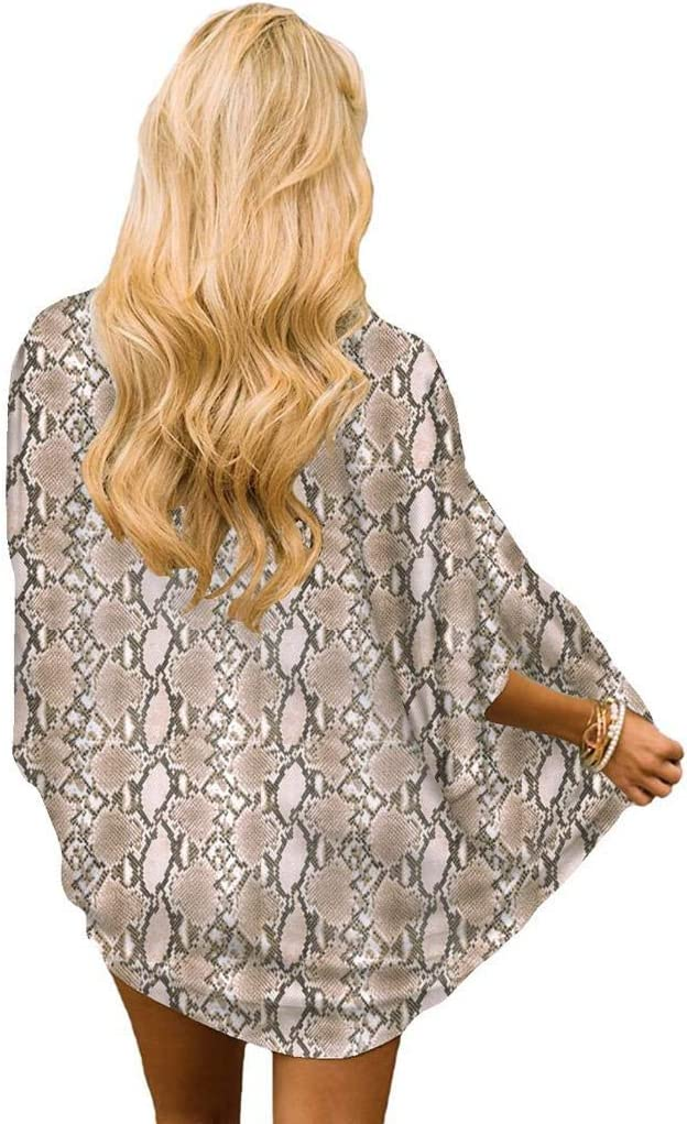 Cardigans Mujer Kimono 2019 Nuevo SHOBDW Pareos Ropa de Ba/ño Cover Up para Mujer Largo Playa de Verano Estampado de Serpiente Chal Gasa Boho Suelto Tops Blusa Tallas Grandes S-3XL