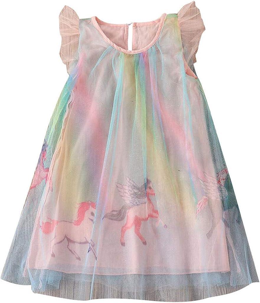 BELLA HXR Vestito Bambina Unicorno Vestiti Eleganti Estivi Arcobaleno Abito da Bambina Principessa Rosa Abiti Senza Maniche Casuale Cosplay Cerimonia Festa Vestito,2-7 Anni