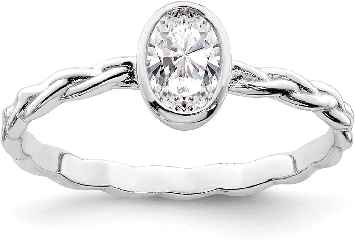 Brilliant Embers 925 Sterling Silver Rhodium-plated Polished CZ Heart Ring Band Size 6-8