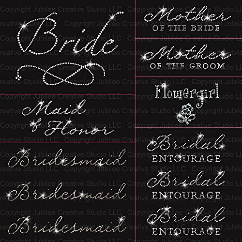 JCS Wedding Pack 11 Pc Bride Iron on Rhinestone Crystal T-Shirt Transfers by JCS Rhinestones