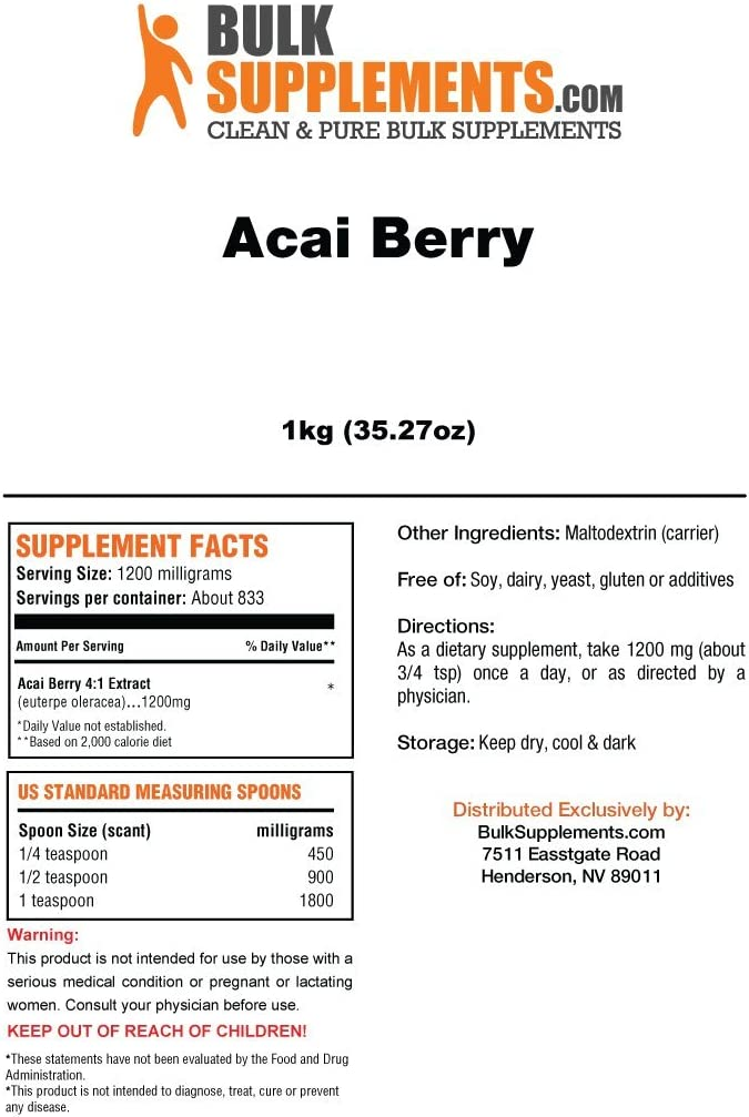 Bulksupplements Acai Berry Extract Powder 5 Kilograms 4,165 Servings
