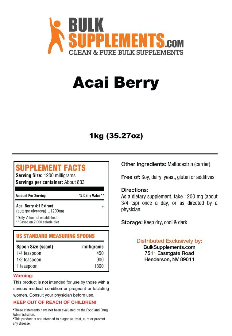 Bulksupplements Acai Berry Extract Powder 1 Kilogram