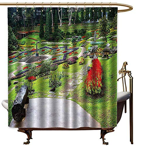 Polyester Shower Curtain,Country Home Decor Collection Bromeliad at Mae Fah Luang Garden Lawn Flower Beds Evergreens Wooden Seat Image,Bathroom Decoration,W55x84L,Lilac Red Green