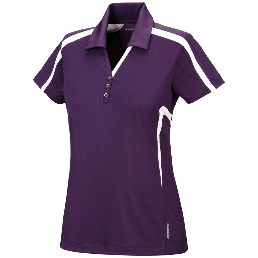 Ash City Womens Accelerate Performance Polo (Small, Mulberry Purple/Ice) by Ash City Apparel