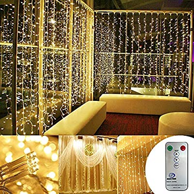 Kohree LED Curtain Lights, Hanging Wedding Light Remote Control Outdoor Indoor Icicle Flashing String Lights for Bedroom, Christmas, Party Decorations, Warm White, 300 Led - 8 modes for selection: there are combination/twinkle/chasing/slow fade/steady on etc. You could switch the mode by pressing the power button on the mini controller or with the remote. Remote control & timer: It comes with a remote to turn the light on/off and switch modes. Remote range is 32 feet (10 meters). there is also timer function that it will stay on for 6 hours and go off for 18 hours and then come back on Automatically. Please take off insulation sheet in the remote and press the button on the mini-controller so that remote will work with the light. Ul certification & Energy efficient: This curtain light (length: 9. 8 feet Height: 9. 8 feet )has UL approved Plug in transformer and it is very safe during use. Input 120V AC 60Hz and output 29V 125MA, high energy convert Rate, Power 3. 6W. There is no worry of Overheat or fire. - patio, outdoor-lights, outdoor-decor - 61b5qZ%2Bes7L. SS400  -