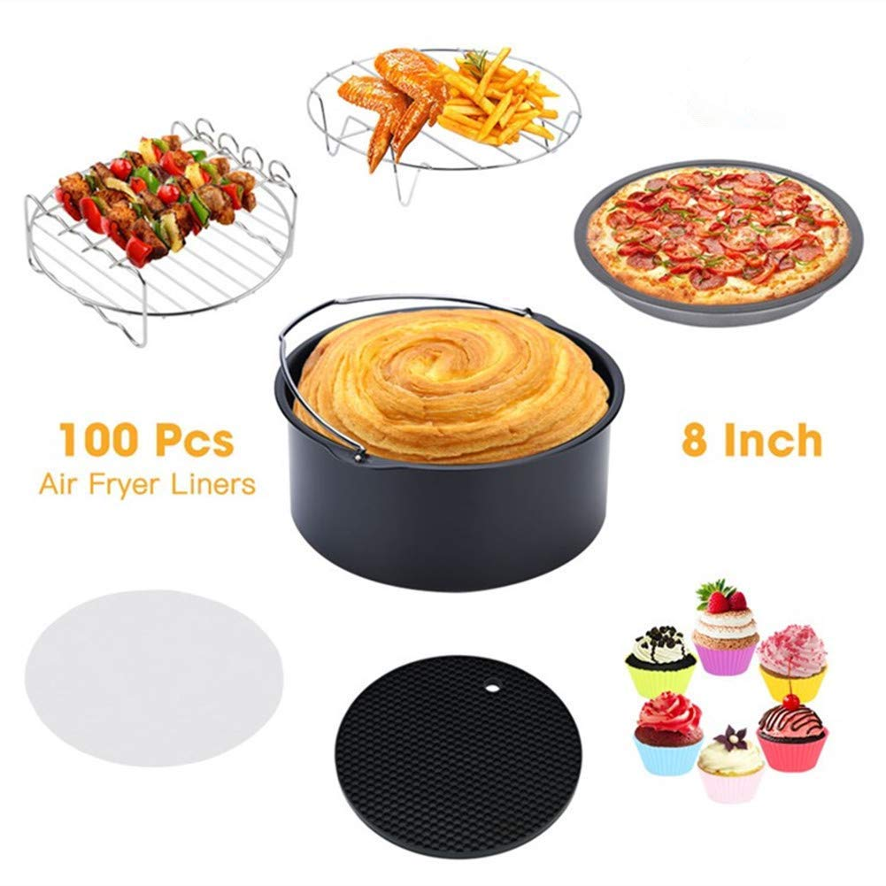 "Greensen Air Fryer Accessories 8"" XL For Gowise Phillips Cozyna, Set of 7 Fit All 5.3QT-5.8QT and UP, Pizza Pan, Cake Barrel, Baking Cups, Parchment Liners, Skewer Grill, Metal Rack and Silicone Mat"