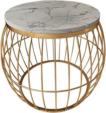 Amazon Com Round Coffee Table Marble Side Table Modern Living Room Small Apartment Sofa Corner Hollow Base Design Color White Size 45 45 55cm Furniture Decor