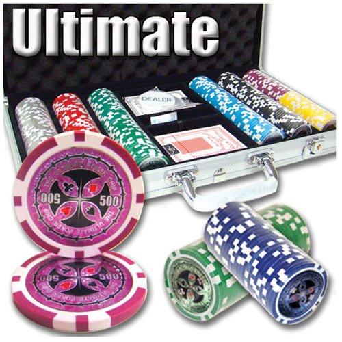 300 Ct Ultimate 14 Gram Clay Poker Chip Set w/ Aluminum Case (Chip 300 Aluminum Case)
