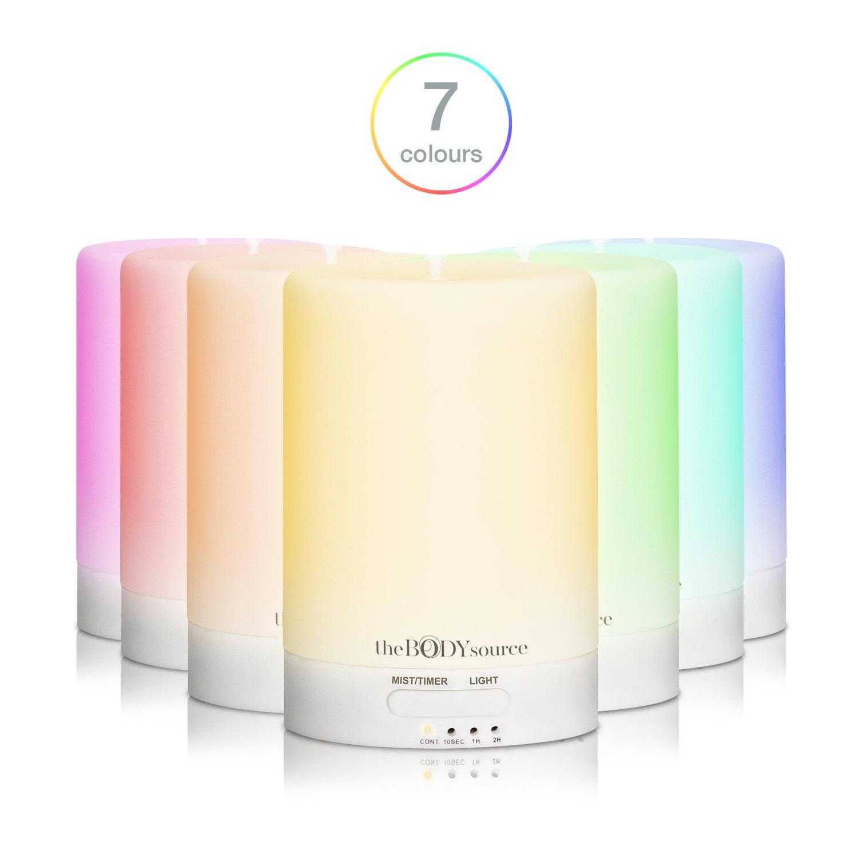 100ml Difusor de Aromas y Humidificador Ultrasónico con 7 Ledes que Cambian de Color. Aromaterapia para Casa, Oficina, Bebé, Baño y Spa