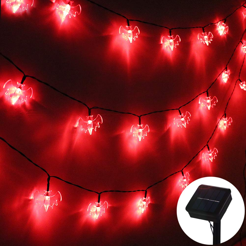 ZALALOVA Halloween Bat String Lights, 19.68ft Solar Powered 30 LED Waterproof Halloween Solar Decoration Lights, 8 Modes for Indoor/Outdoor Halloween Party Christmas Garden Yard Fence Decor