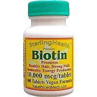 Biotin 10,000 mcg (500 Tablets) for Hair Growth, Skin, Strong Nails, biotin 10mg