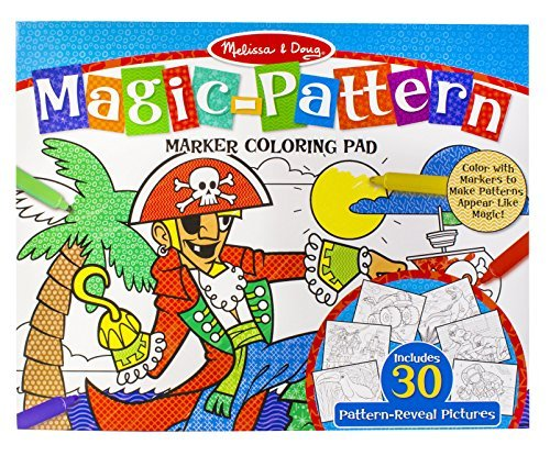 Melissa & Doug Magic-Pattern Marker Set 2-Pack - Blue Coloring Pad with Pink Coloring Pad - 60 Unique Designs - Ages 3+