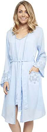 Cyberjammies 4405 Women's Olivia Blue Modal Embroidered Short Robe