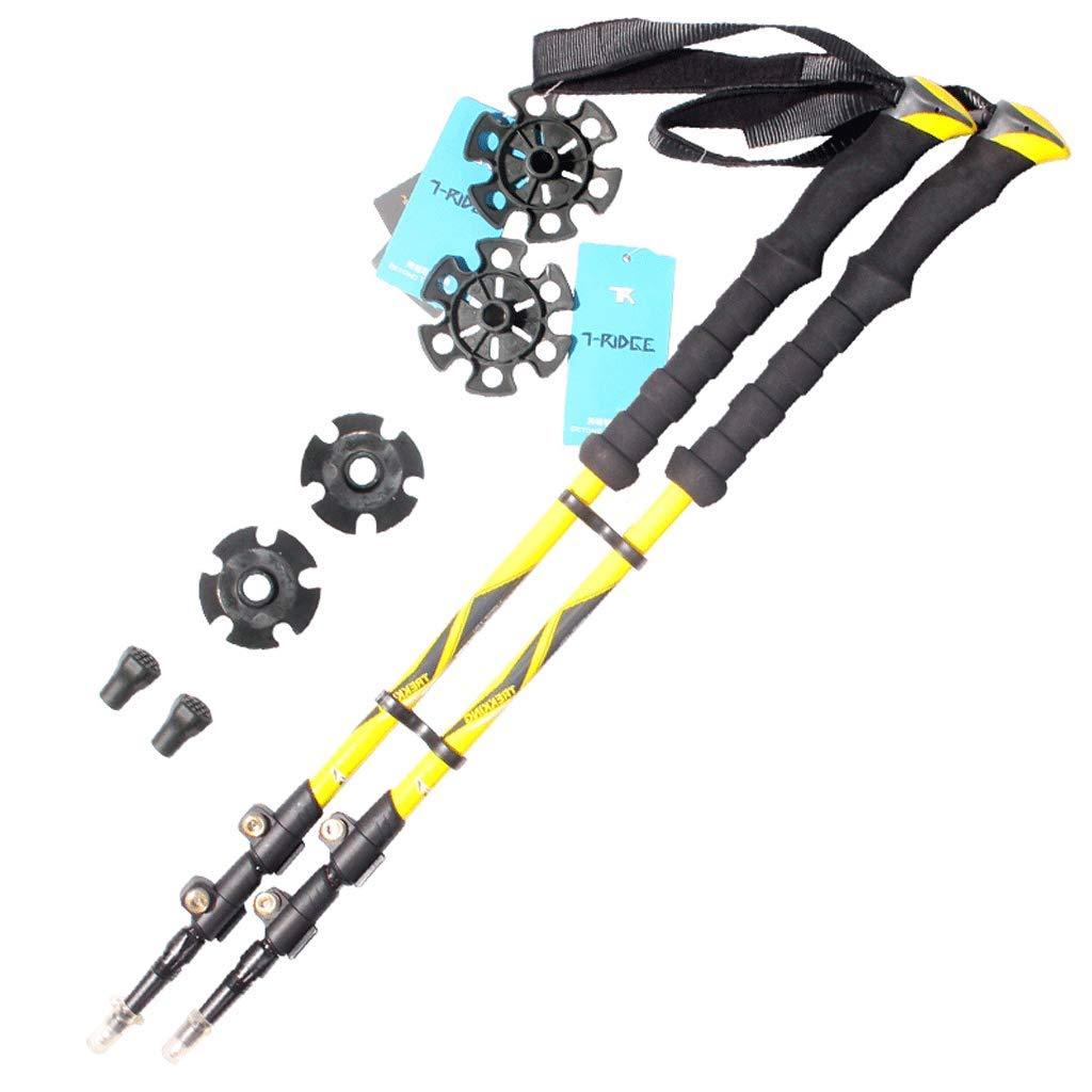 トレッキングポール - カーボンアロイ、超軽量&リトラクタブルウォーキング、ハイキング、キャンプスティック、クイックフリップロックとEVAグリップ - 1ペア (色 : 青) B07M8R7MYV イエロー いえろ゜  イエロー いえろ゜