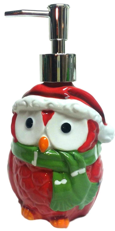 Ceramic Pump Soap Dispensor Christmas/Winter Themed Decor Kitchen Accessory (Christmas Owl)