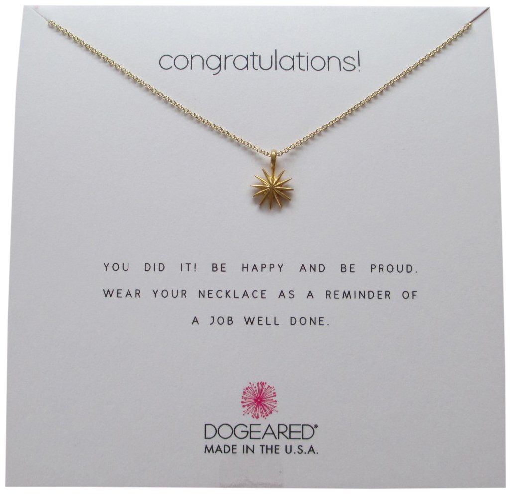 Dogeared Congratulations Gold Dipped Starburst Reminder 16'' Boxed Necklace