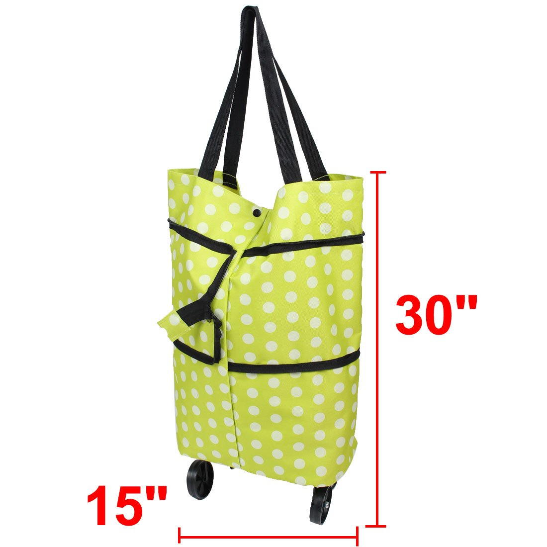 uxcellPolyester Dot Pattern Household Reusable Folding Shopping Tote Bag Trolley