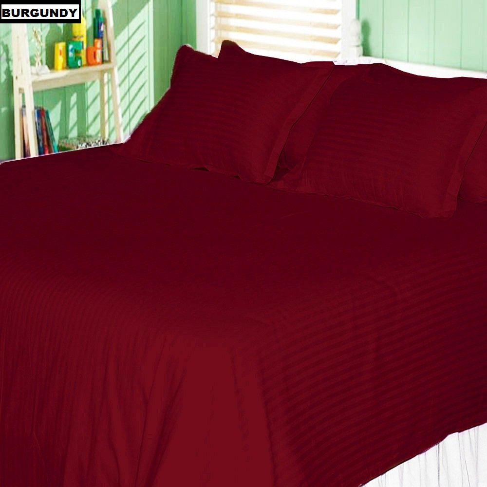 1000 Thread Count Nicely Fab RV Short Queen ( Size ) 100% Egyptian Cotton Flat / Top Sheet With Extra 2 PC Pillow Cases All Heavy Colors Striped ( Burgundy ) By Galaxy's Linen