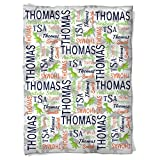 Have Faith Boutique Personalized Baby Blanket with Name- 30''x40''- Velveteen Fleece - Dinosaur