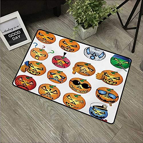 Halloween,Room Doormat Carved Pumpkin with Emoji Faces Halloween Inspired Humor Hipster Monsters Artwork W 16
