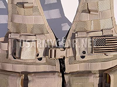 New Made in USA Army Military MOLLE II Camouflage Desert Tan Airsoft MOLLE II Fighting Loaded Carrier Vest FLC LBV with 4 Double Pouch and 2 K-Bar Adapter Issued by the U.S. Government GI