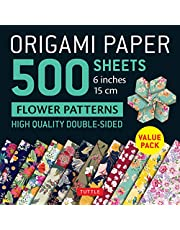 """Origami Paper 500 sheets Flower Patterns 6"""" (15 cm): Tuttle Origami Paper: High-Quality Double-Sided Origami Sheets Printed with 12 Different Patterns (Instructions for 6 Projects Included)"""