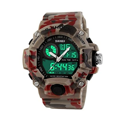 Amazon.com : Relojes de Hombre 2018 Quartz Digital Dual Time Man Sports Watches Shock Military Army RE0059 : Everything Else