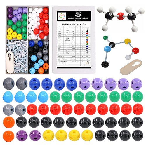 Organic Chemistry Molecular Model Kit - 240 Pieces Inorganic Chemistry Model Kit that with 153 Bonds+ 86 Atoms+ 1 Removal Tool for Home Science tools Advanced Organic and Inorganic Chemistry kit (Home Science Tools)